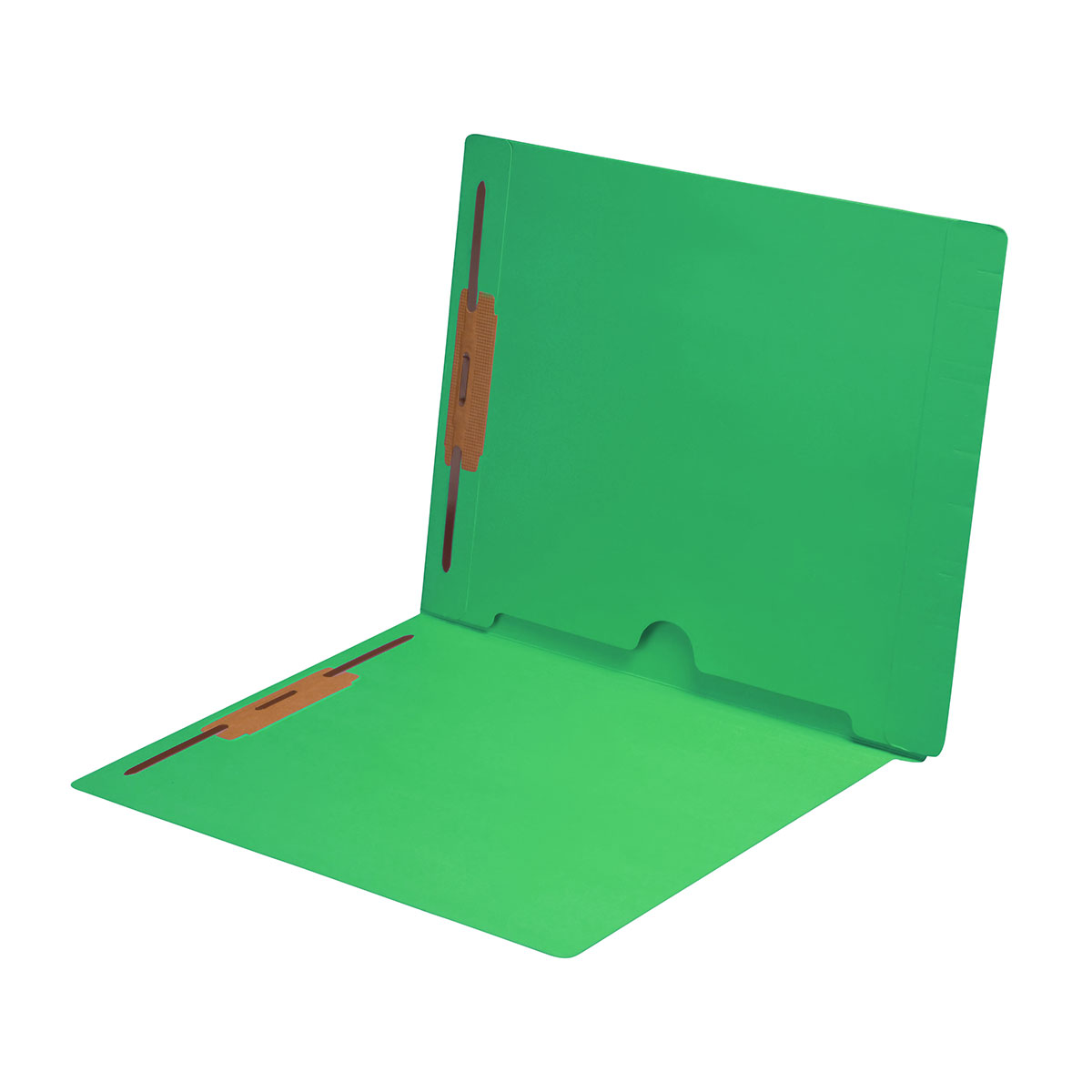S-9019-GRN - 11 pt Green Folders, Full Cut End Tab, Letter Size, Full Back Pocket, Fasteners Pos #1 & #3 (Box of 50)