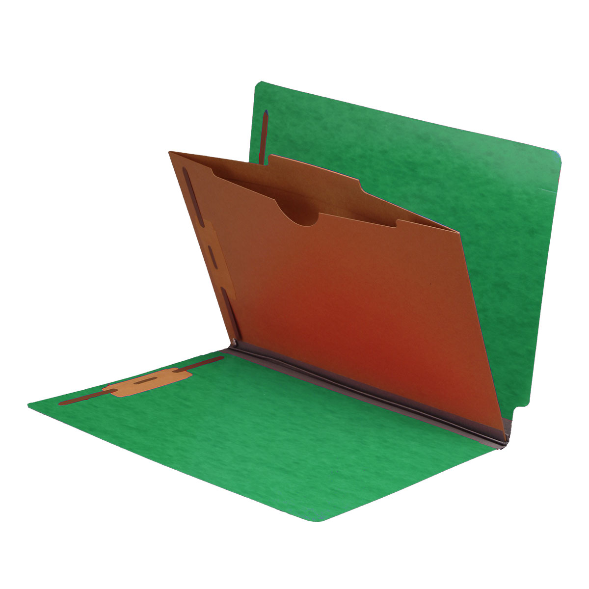 S-9040-GRN - Type I Pressboard Classification Folders, Full Cut End Tab, Letter Size, 1 Pocket Divider, Green (Box of 10)