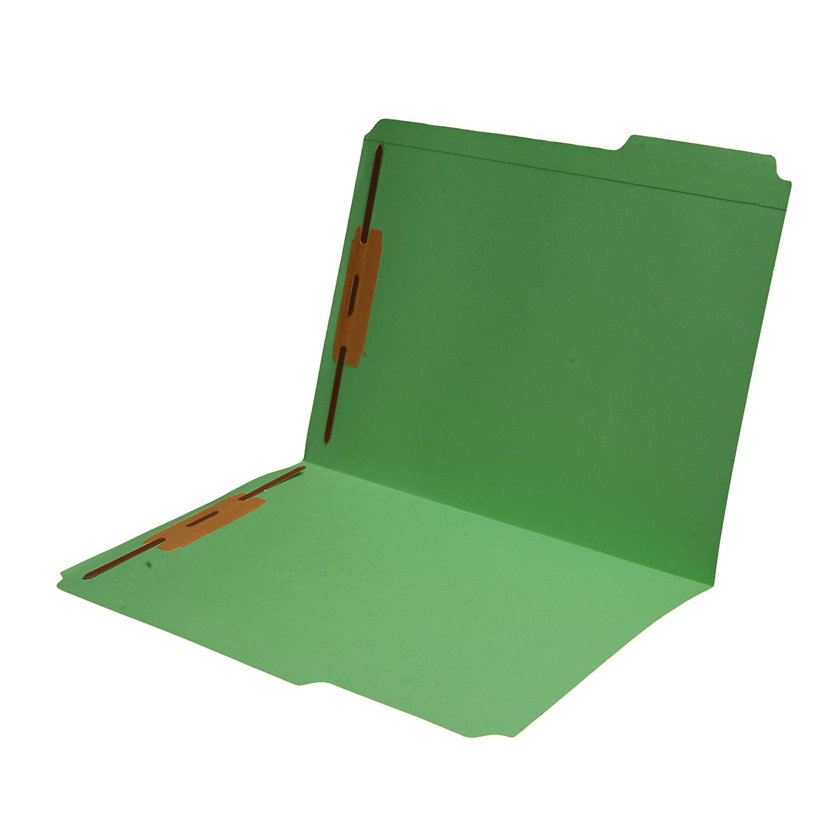 S-9042-GRN - 11 pt Green Folders, 1/3 Cut Reinforced Top Tab - Assorted, Letter Size, Fastener Pos #1 and #3 (Box of 50)