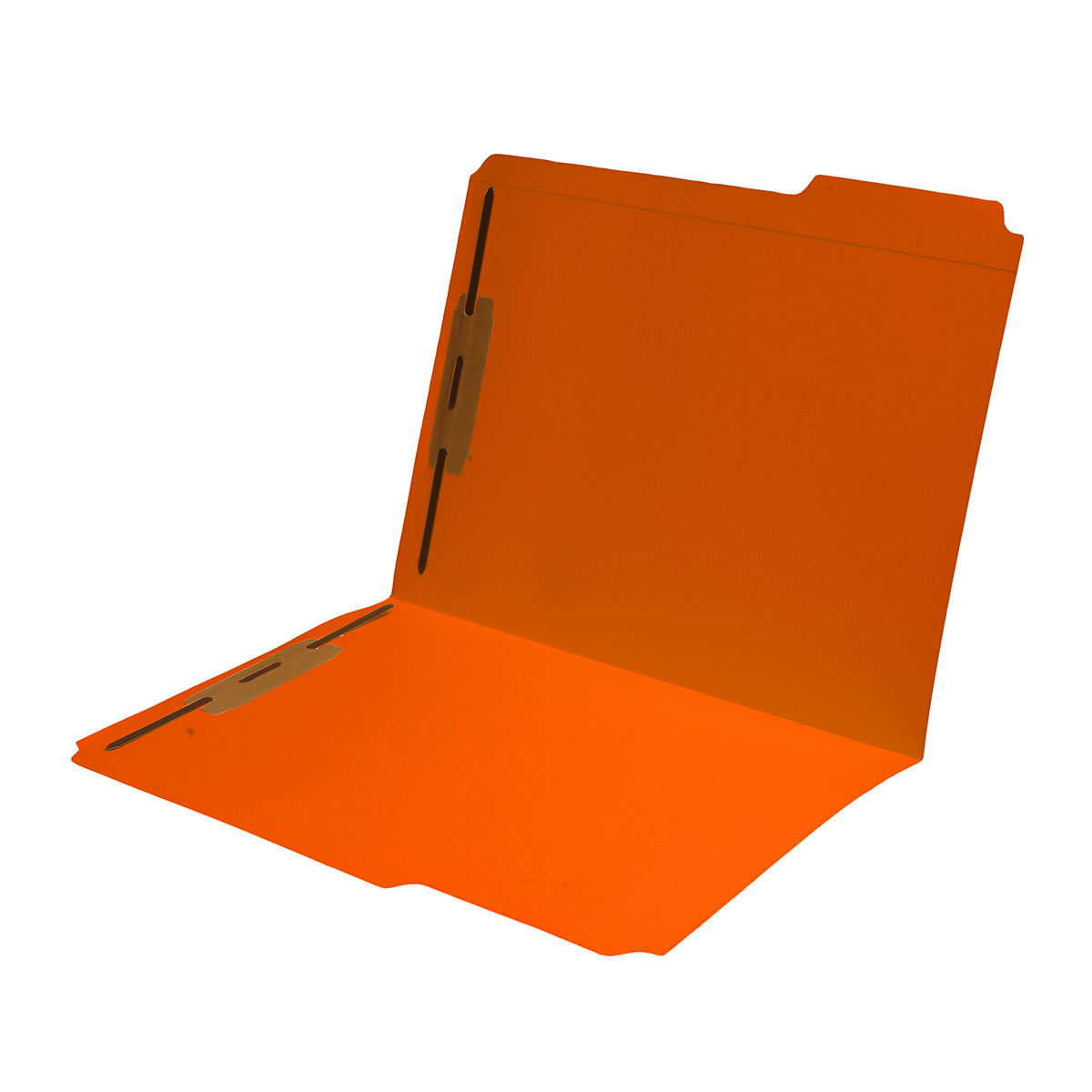 S-9042-ORG - 11 pt Orange Folders, 1/3 Cut Reinforced Top Tab - Assorted, Letter Size, Fastener Pos #1 and #3 (Box of 50)