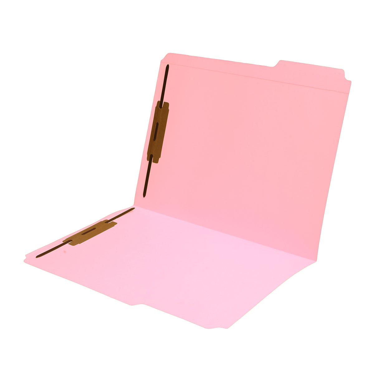 S-9042-PNK - 11 pt Pink Folders, 1/3 Cut Reinforced Top Tab - Assorted, Letter Size, Fastener Pos #1 and #3 (Box of 50)