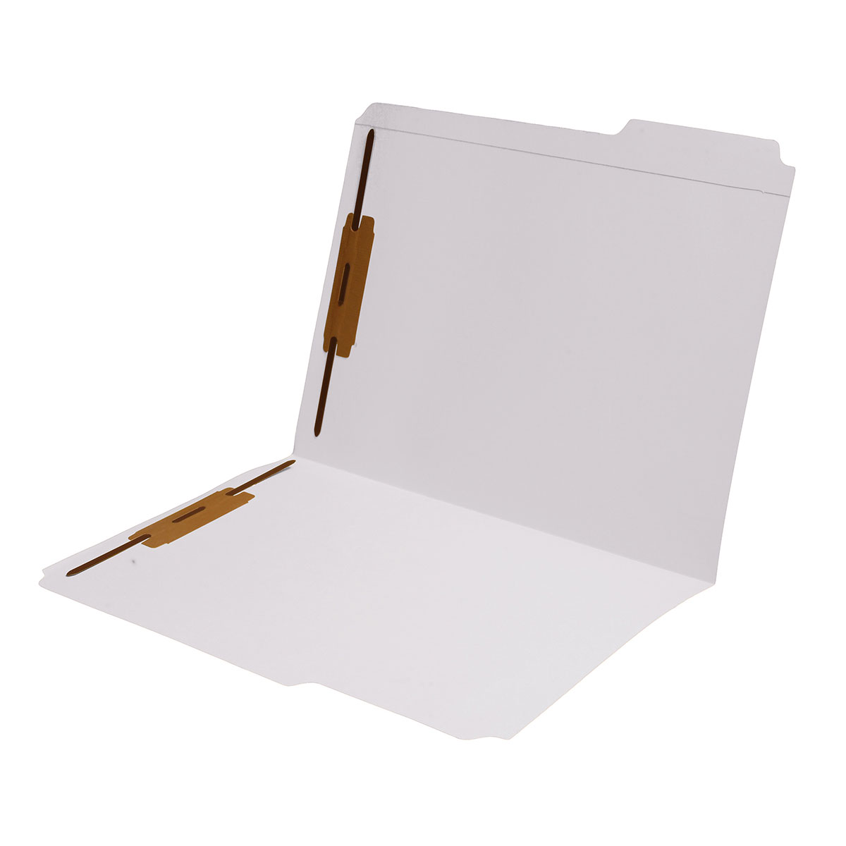 S-9042-WHT - 11 pt White Folders, 1/3 Cut Reinforced Top Tab - Assorted, Letter Size, Fastener Pos #1 and #3 (Box of 50)