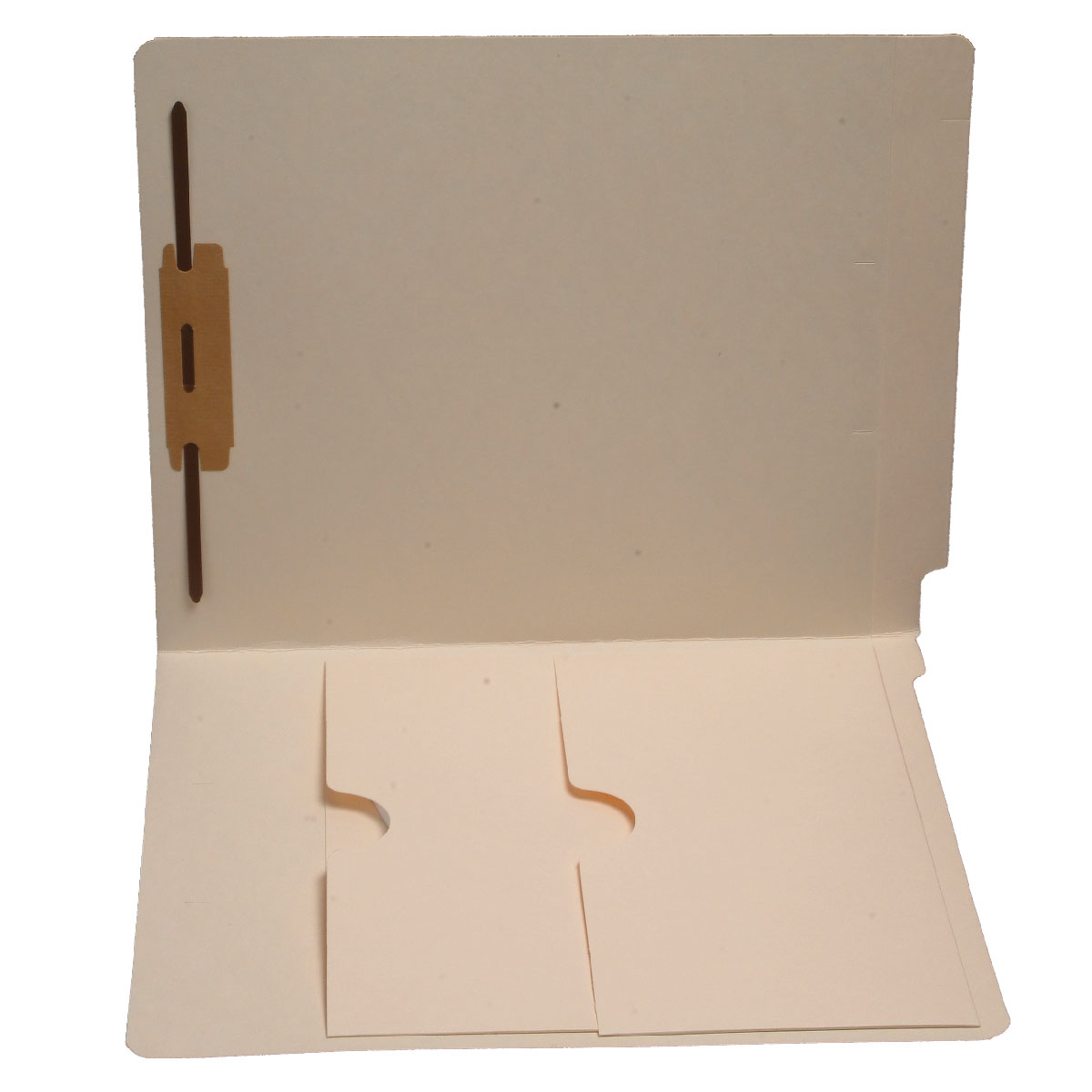 S-9063 - 11 pt Manila Folders, Full Cut End Tab, Letter Size, Double Pockets Inside Front, Fastener Pos #1 (Box of 50)