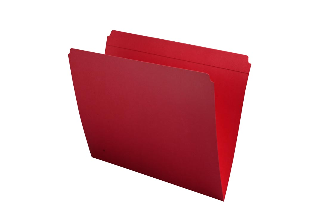 S-9082-RED - 11 pt Red Folders, Full Cut Reinforced Top Tab, Letter Size (Box of 100)
