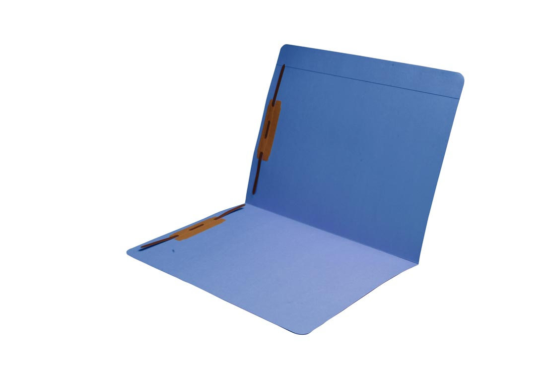 S-9083-BLU - 11 pt Blue Folders, Full Cut Reinforced Top Tab, Letter Size, Fastener Pos #1 and #3 (Box of 50)