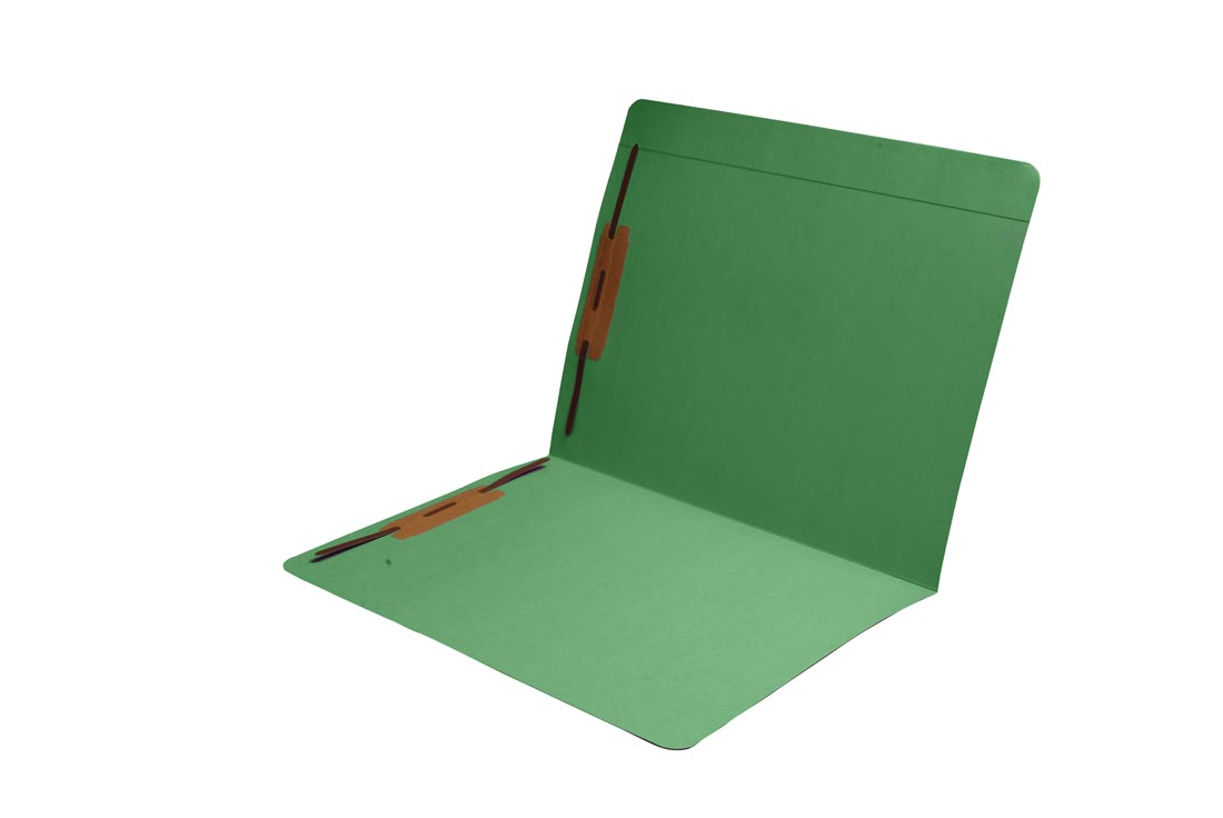 S-9083-GRN - 11 pt Green Folders, Full Cut Reinforced Top Tab, Letter Size, Fastener Pos #1 and #3 (Box of 50)