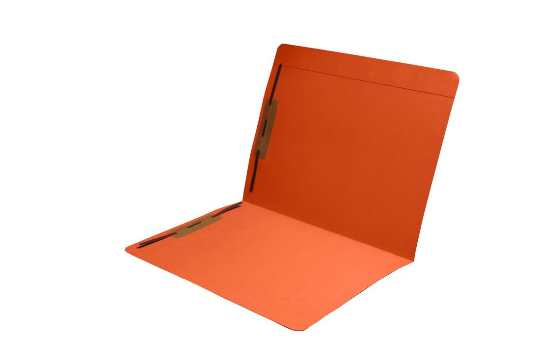 S-9083-ORG - 11 pt Orange Folders, Full Cut Reinforced Top Tab, Letter Size, Fastener Pos #1 and #3 (Box of 50)