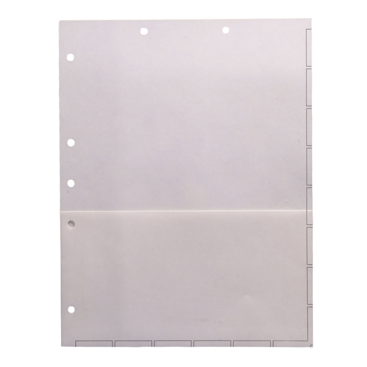 S-9085 - Chart Divider Sheets for Stick-On Tabs, Letter Size, White with 1/2 Pocket (Box of 50)
