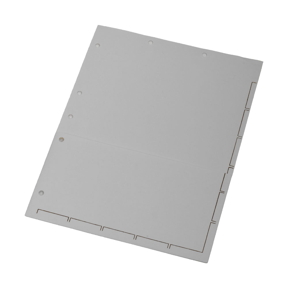 S-9150 - Chart Divider Sheets for Stick-On Tabs, Letter Size, White with 1/2 Pocket. Large Tab (Box of 50)