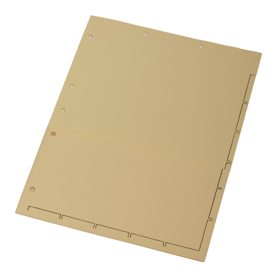S-9151 - Chart Divider Sheets for Stick-On Tabs, Letter Size, Manila with 1/2 Pocket, Large Tab (Box of 50)
