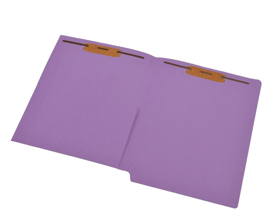 S-9177-LAV - 11 pt Lavender Folders, Full Cut End Tab, Letter Size, 1/2 Pocket Inside Front, Fastener Pos #1 & #3 (Box of 50)