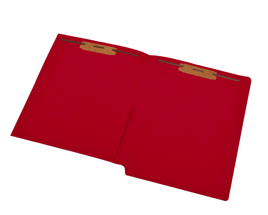 S-9177-RED - 11 pt Red Folders, Full Cut End Tab, Letter Size, 1/2 Pocket Inside Front, Fastener Pos #1 & #3 (Box of 50)