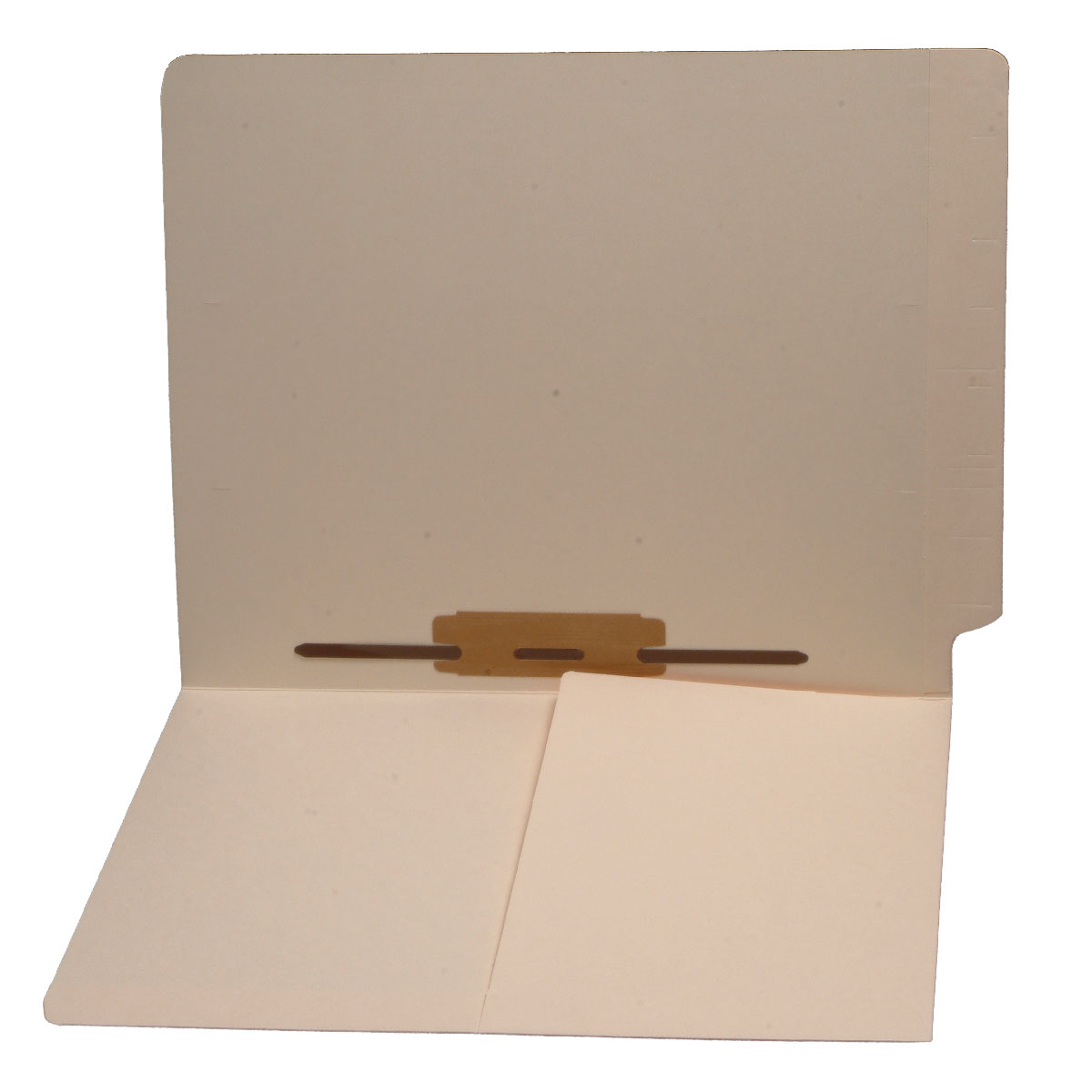 S-9287 - 11 pt Manila Folders, Full Cut End Tab, Letter Size, 1/2 Pocket Inside Front, Fastener Pos #5, Mylar Reinforced (Box of 50)