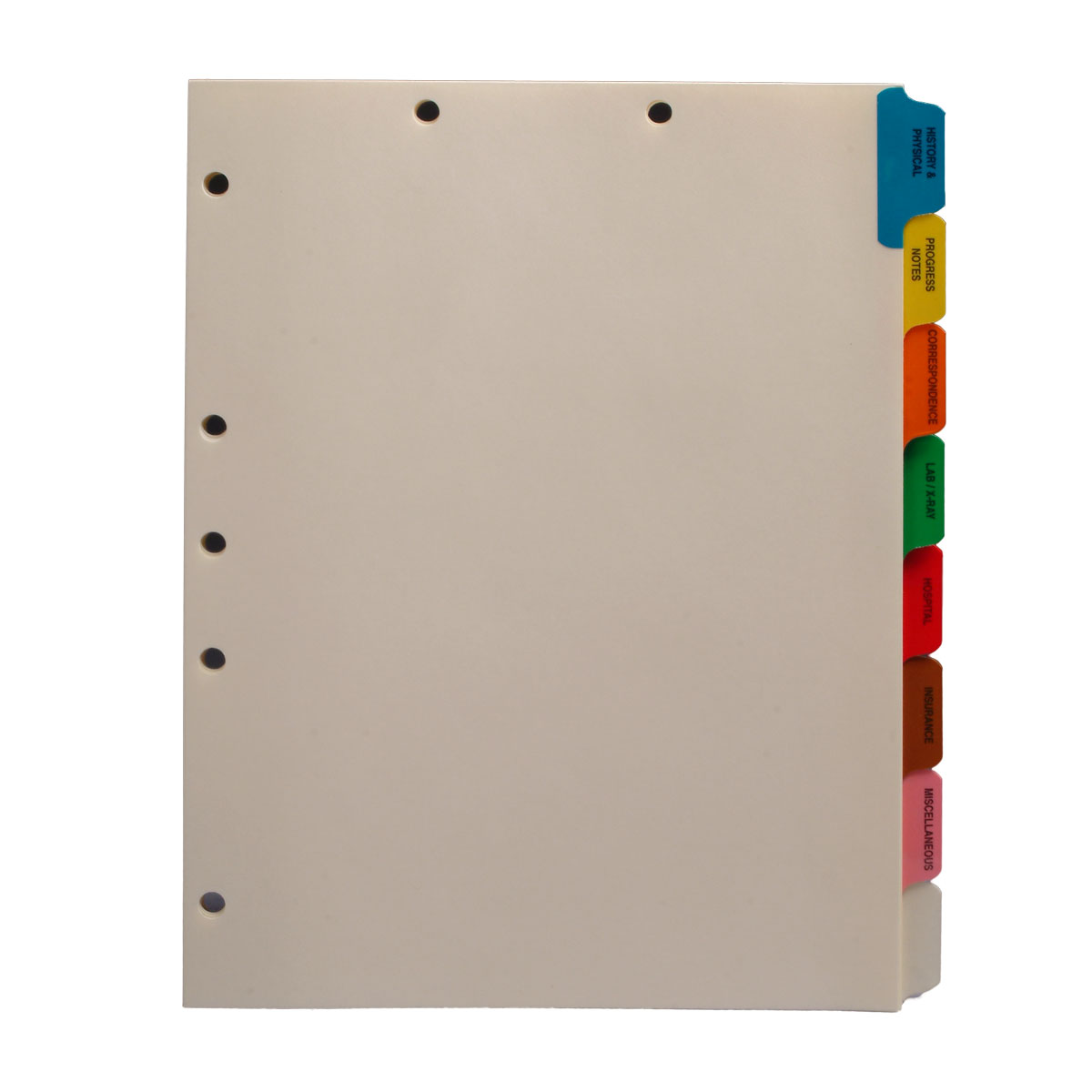 S-9206 - Stock Medical Chart Divider Sets, Side Tabs, 1/8th Cut (50 Sets of 8 Tabs)