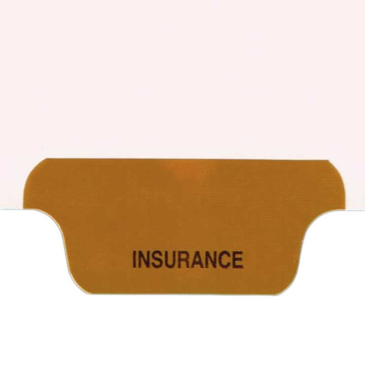 S-9209-4T-3 - Individual Stock Chart Divider Tabs, Insurance, Brown, Bottom Tab, 1/6th Cut, Pos. #3 (Pack of 25)