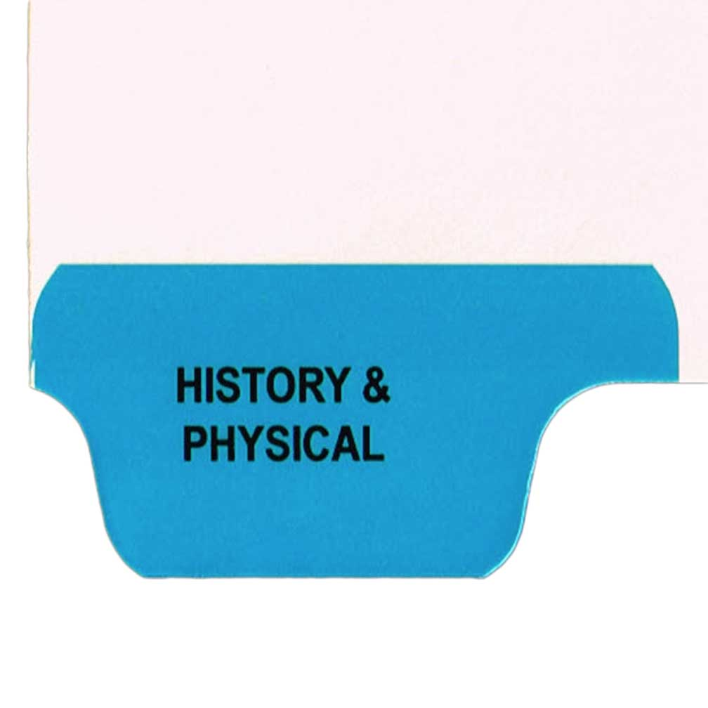S-9209-8T-1 - Individual Stock Chart Divider Tabs, History & Physical, Blue, Bottom Tab, 1/8th Cut, Pos. #1 (Pack of 25)