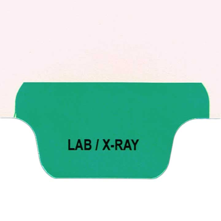 S-9209-8T-4 - Individual Stock Chart Divider Tabs, Lab/X-Ray, Green, Bottom Tab, 1/8th Cut, Pos. #4 (Pack of 25)