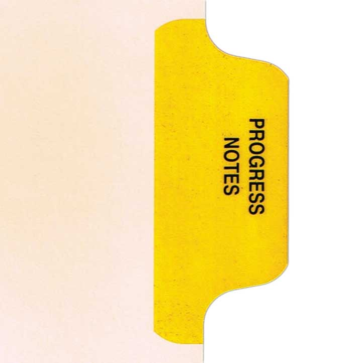 S-9210-8T-2 - Individual Stock Chart Divider Tabs, Progress Notes, Yellow, side Tab, 1/8th Cut, Pos. #2 (Pack of 25)