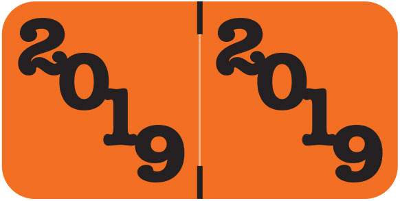 S-9225-19 - 2019 Year Labels, Orange, Jeter Compatible, 3/4