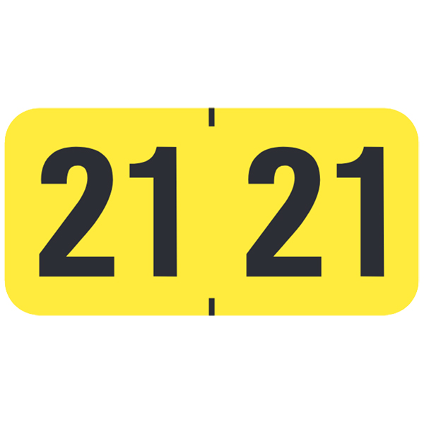 S-9226-21 - 2021 Year Labels, Fluorescent Yellow, MAP Compatible, 3/4