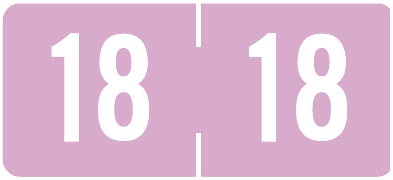 S-9228-18-B - 2018 Year Labels, Pink, Tab Products Compatible, 3/4