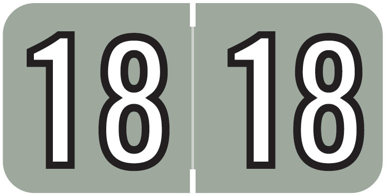 S-9229-18 - 2018 Year Labels, Gray, Barkley Compatible, 3/4