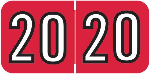 S-9229-20 - 2020 Year Labels, Red, Barkley Compatible, 3/4
