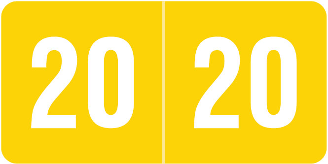 S-9230-20 - 2020 Year Labels, Yellow, Smead Compatible, 1/2