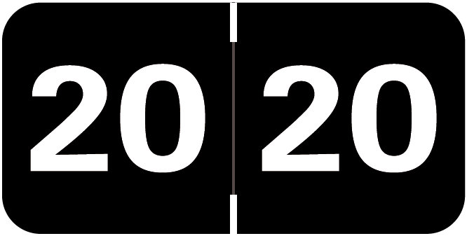 S-9232-20 - 2020 Year Labels, Black, Tabbies Compatible, 3/4