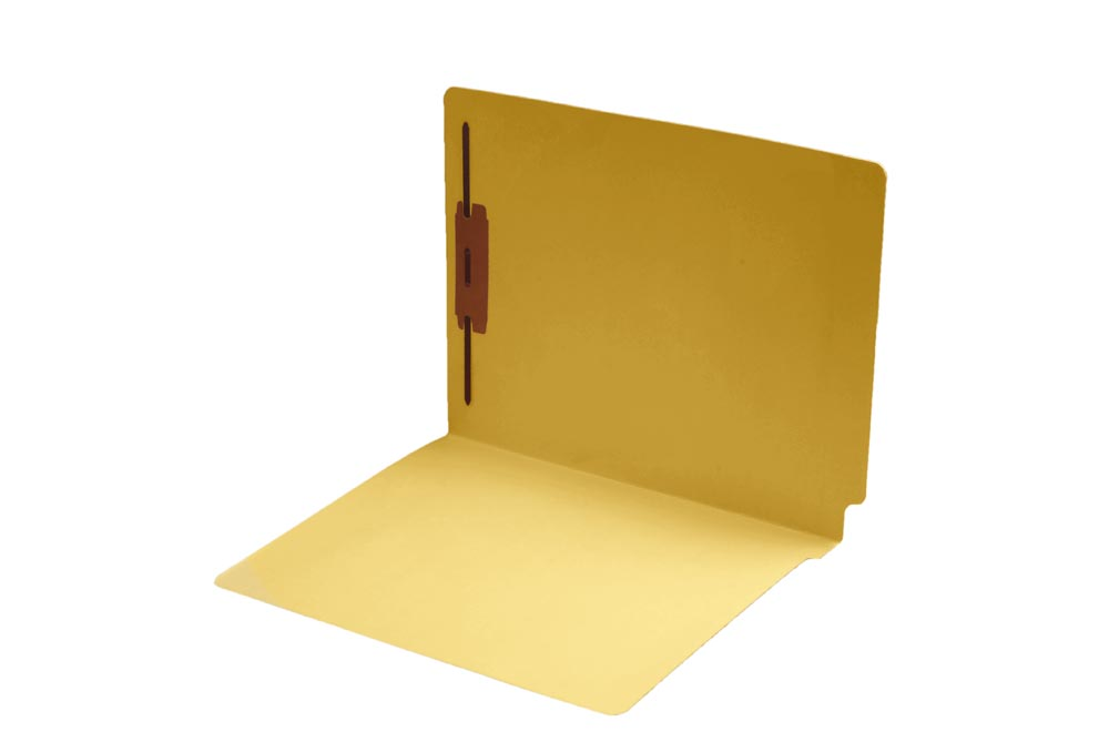 S-9242-YLW - 11 pt Color Folders, Full Cut End Tab, Letter Size, Fastener Pos #1, Yellow (Box of 50)