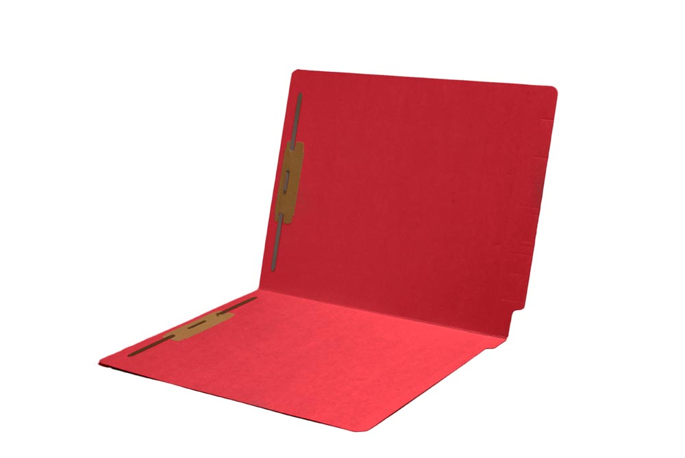 S-9243-RED - 11 pt Color Folders, Full Cut Single Ply End Tab, Letter Size, Fastener Pos #1 & #3, Red (Box of 50)