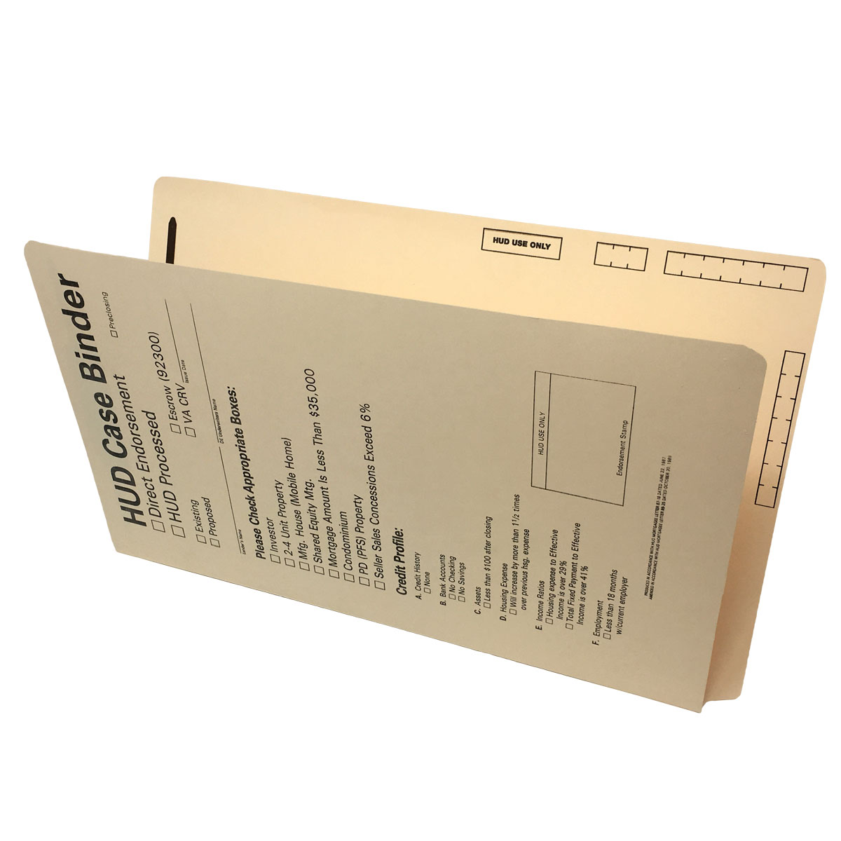 S-9246 - HUD Case Binders, 15 pt Manila, Legal Size, End/Top Tabs (Box of 50)