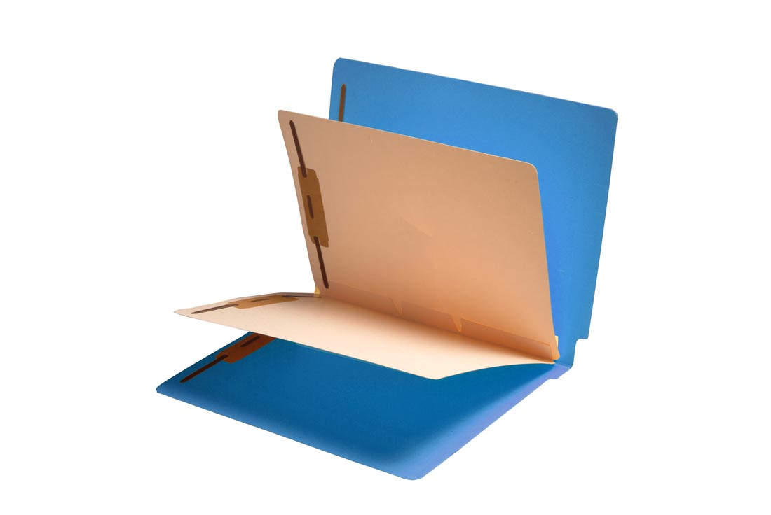S-9307-BLU - 14 Pt. Blue Folders, Full Cut End Tab, Letter Size, 2 Dividers Installed (Box of 25)