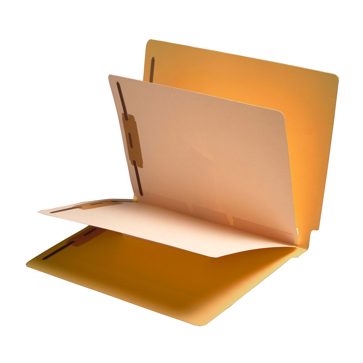 S-9358-GLD - 11 Pt. Goldenrod Folders, Full Cut End Tab, Letter Size, 2 Dividers Installed (Box of 40)