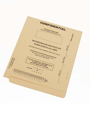 S-9367 - 15 pt Manila Folders, Full Cut End Tab, Reinforced End/Top, Letter Size, Fastener Pos #1, Confidential Printed (Box of 50)