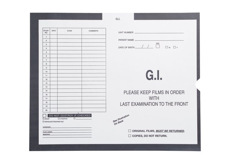 "S-97343 - G.I (Gastro Intestinal), Gray#430 - Category Insert Jackets, System I, Open End - 14-1/4"" x 17-1/2"" (Carton of 250)"