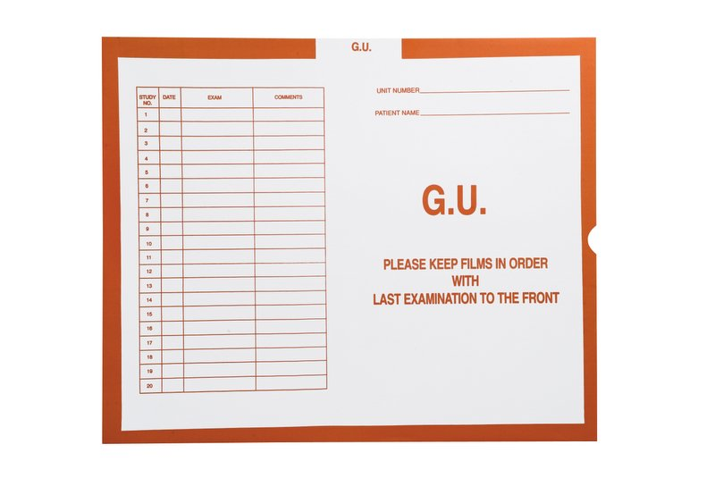 "S-99602 - G.U. (Genito-Urinary), Orange #151 - Category Insert Jackets, System II, Open End - 14-1/4"" x 17-1/2"" (Carton of 250)"