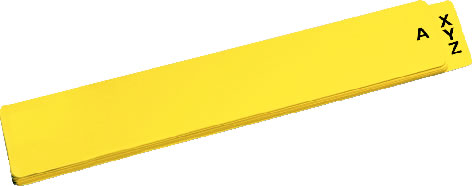 "BK-FGD580 - Alpha Shelf Guides, Yellow Vinyl, 4"" x 21"" (Set of 25)"