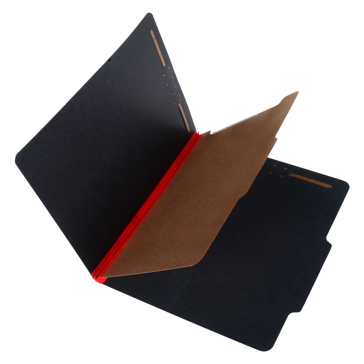 S-62611 - SJ Paper S62611 Match 25 Pt. Fusion Black Pressboard Classification Folders, 2/5 Cut ROC Top Tab, Letter Size, 1 Divider, Red tyvek (Box of 20)