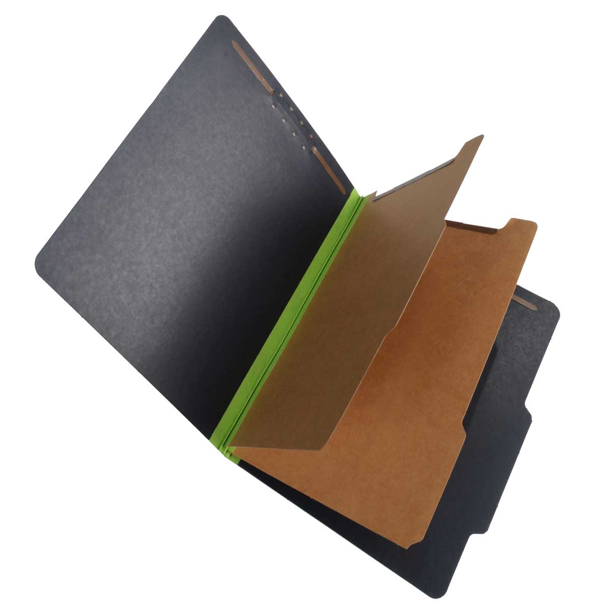 S-62625 - SJ Paper S62625 Match 25 Pt. Fusion Black Pressboard Classification Folders, 2/5 Cut ROC Top Tab, Letter Size, 2 Dividers, Green tyvek (Box of 15)