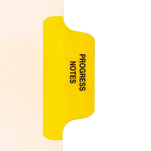 I622 - Individual Chart Divider Packs, Progress Notes (Yellow), Side Tab 1/8th Cut, Pos #2 (Pack of 50)