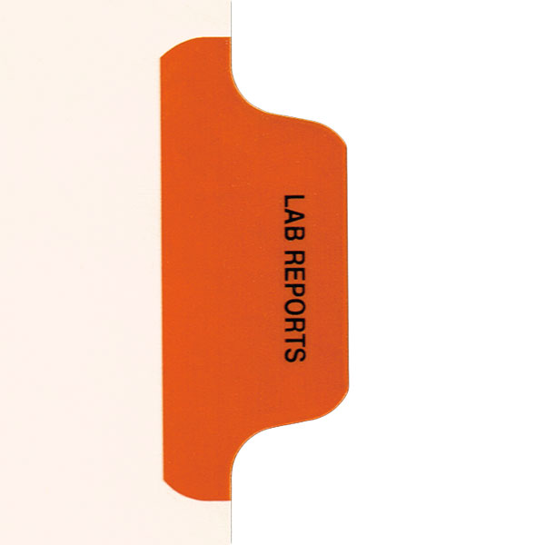 I623 - Individual Chart Divider Packs, Lab Reports (Orange), Side Tab 1/8th Cut, Pos #3 (Pack of 50)