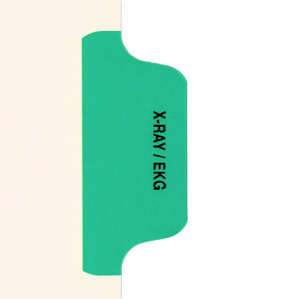I625 - Individual Chart Divider Packs, X-Ray / EKG (Green), Side Tab 1/8th Cut, Pos #4 (Pack of 50)