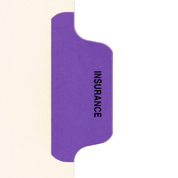I629 - Individual Chart Divider Packs, Insurance (Purple), Side Tab 1/8th Cut, Pos #6 (Pack of 50)