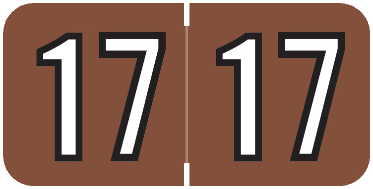 S-9229-17-B - 2017 Year Labels, Brown, Barkley Compatible , 3/4