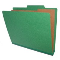 25 Pt. Pressboard Classification Folders, 2/5 Cut ROC Top Tab, Letter Size, 2 Dividers, Gree...