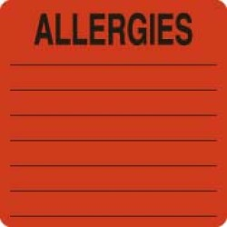 "Allergy Warning Labels, ALLERGIES - Fl Red, 2-1/2"" X 2-1/2"" (Roll of 500)"