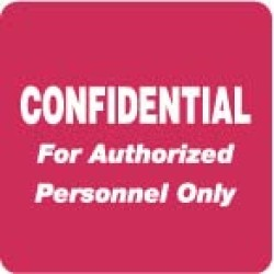 "HIPAA Labels, Confidential Authorized Personnel Only - Red, 2"" X 2"" (Roll of 500)"