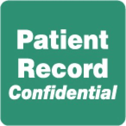 "HIPAA Labels, Patient Record Confidential - Green, 2"" X 2"" (Roll of 500)"