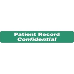 "HIPAA Labels, Patient Record Confidential - Green, 6.5"" X 1"" (Roll of 100)"